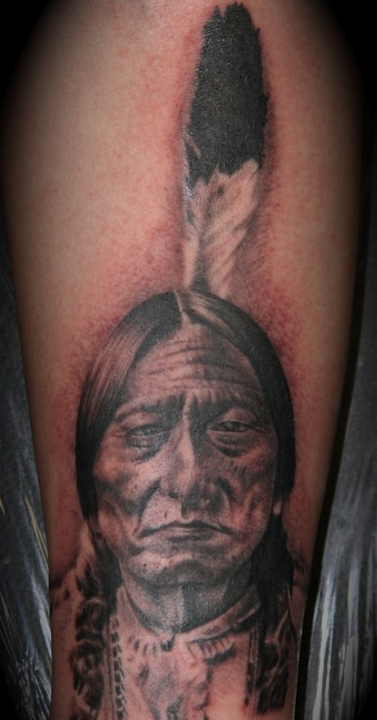 Native American Feather Portrait Tattoo
