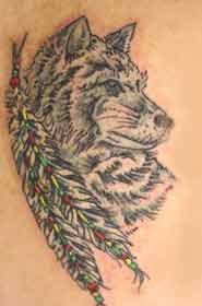 Native American Feathers And Wolf Tattoos