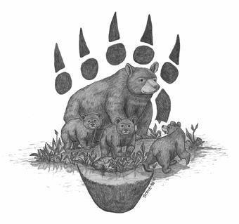 Native American Forest Bear Tattoos Sketch