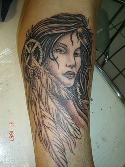 Native American Girl And Feather Tattoos