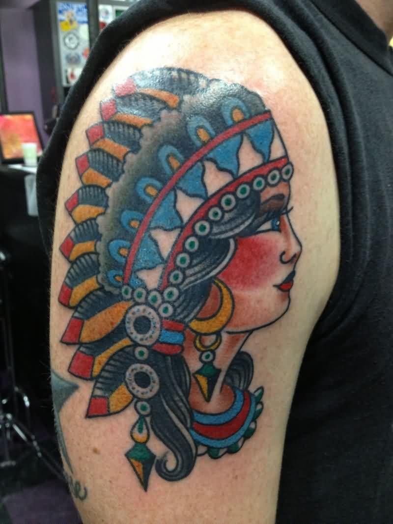Native American Girl Head Tattoo On Biceps