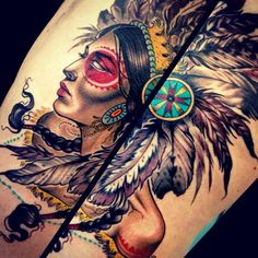 Native American Girl Painting Tattoo
