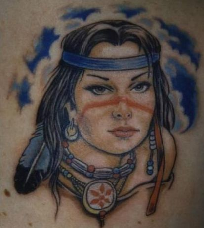 Native American Girl With Blue Headband Tattoo