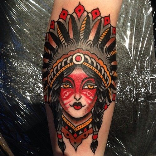 Native American Girl With Brown Eyes Tattoo