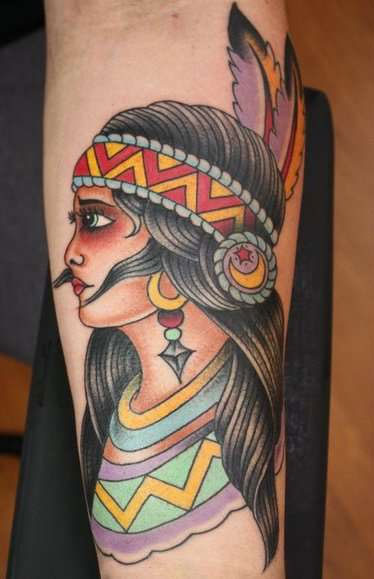 Native American Girl With Feather Headband Tattoo