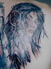 Native American Girl With Feather Tattoos