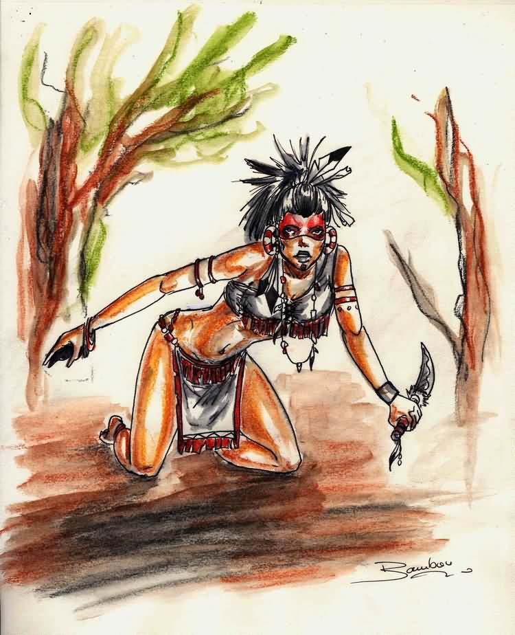 Native American Girl With Knife Tattoo Painting