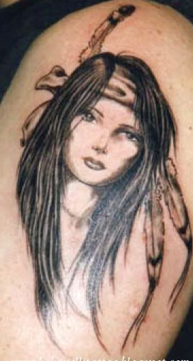 Native American Girl With Long Black Hairs Tattoo