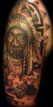 Native American Headdress Horse And Eagle Tattoos