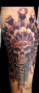 Native American Headdress Skull Tattoos