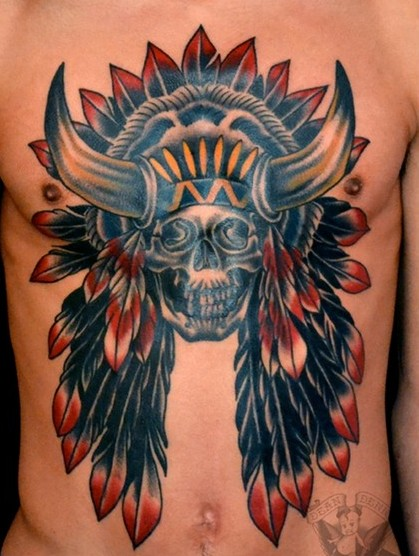 Native American Horned Skull Tattoo On Chest