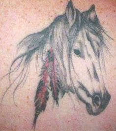 Native American Horse With Feather Tattoos
