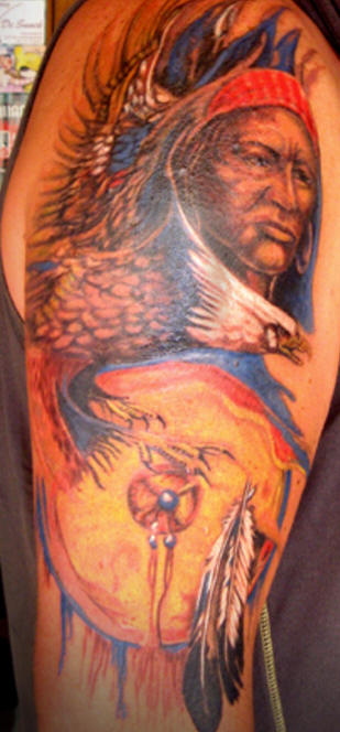 Native American Lady And Eagle Tattoos On Sleeve
