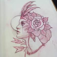 Native American Lady And Lotus Tattoo Sketch