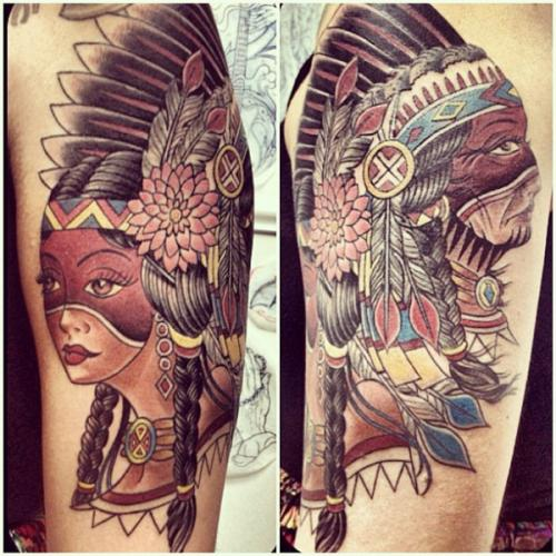 Native American Masked Girl Tattoos