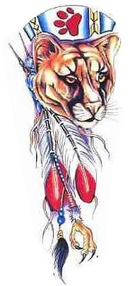 Native American Mountain Lion And Feather Tattoo Designs