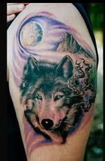 Native American Moutains And Wolf Tattoos
