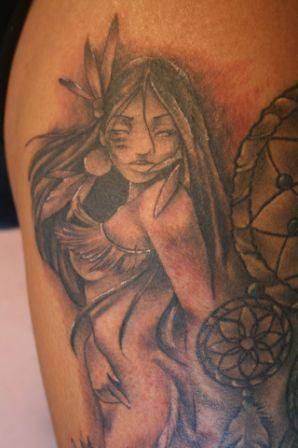 Native American Naked Girl And Dreamcatcher Tattoos