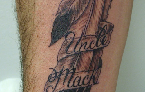 Native American Name Feather Tattoo