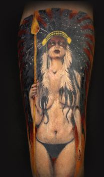 Native American Nude Girl Tattoo