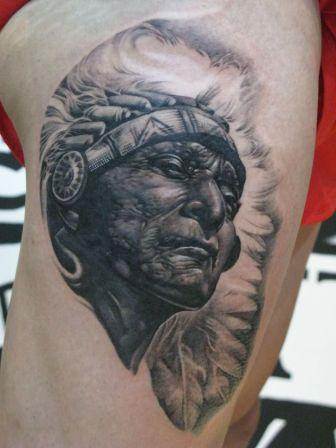 Native American Old Lady Face Portrait Tattoo