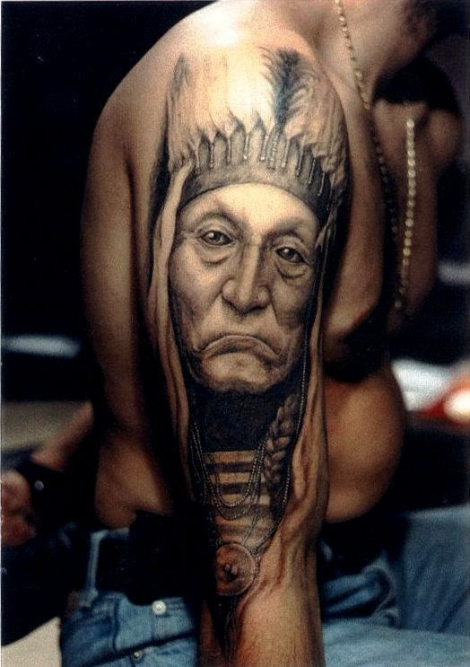 Native American Old Lady Portrait Tattoo On Arm