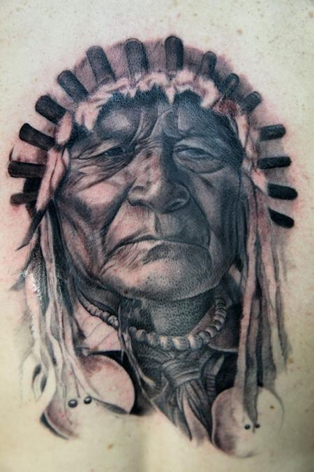 Native American Old Lady Portrait Tattoo