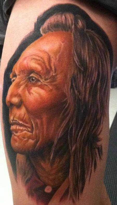 Native American Old Portrait Tattoo