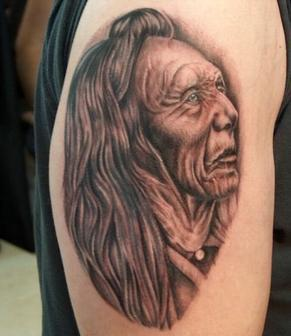 Native American Old Woman Portrait Tattoo On Biceps