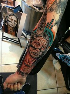 Native American Old Woman Tattoo On Lower Sleeve