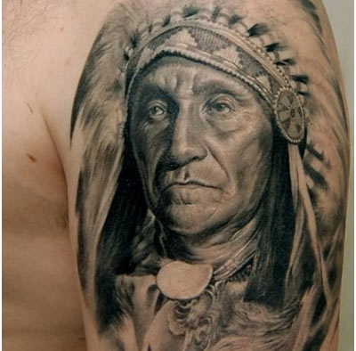 Native American People Portrait Tattoo On Arm