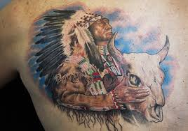Native American People With Animal Skull Tattoo On Chest