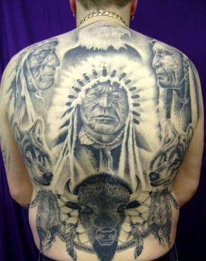 Native American Portraits And Symbol Tattoos On Whole Back