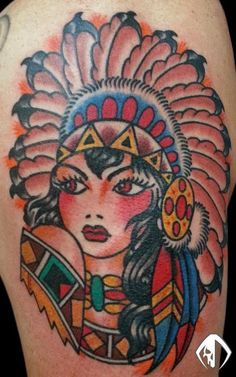 Native American Pretty Girl Tattoo