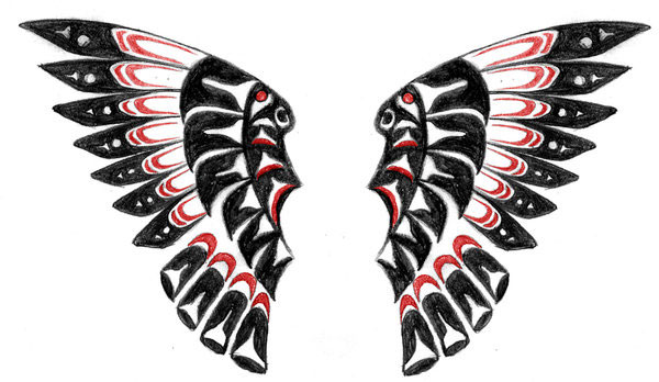 Native American Red-Black Wings Tattoo Design