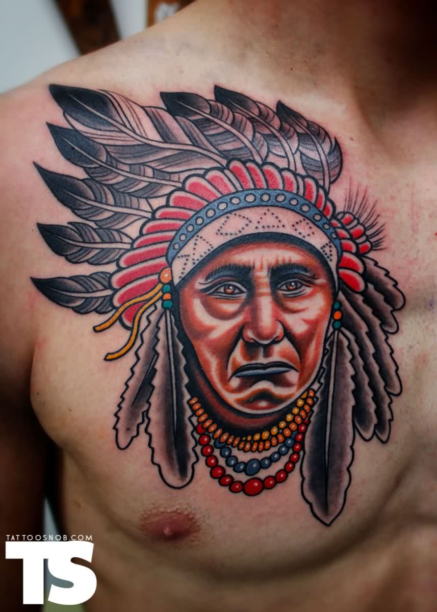 Native American Sad Face Tattoo On Chest