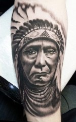 Native American Sad Portrait Tattoo