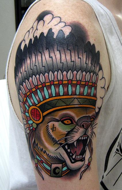 Native American Screaming Lion Tattoo For Guys
