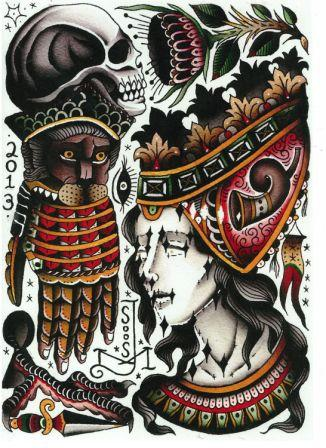Native American Skull Owl And Feather Tattoos Set