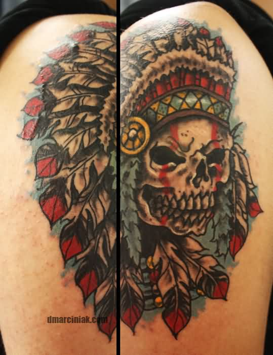 Native American Skull With Headdress Tattoo