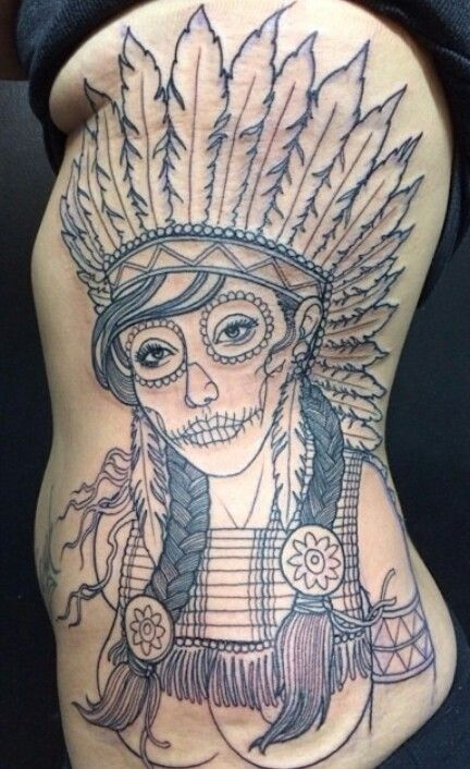 Native American Stitched Lips Girl Tattoo On Side