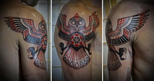 Native American Tattoo Design Of An Owl With Its Wings Spread
