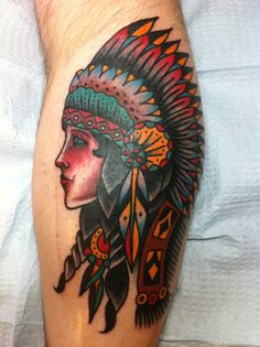 Native American Traditional Girl Tattoo
