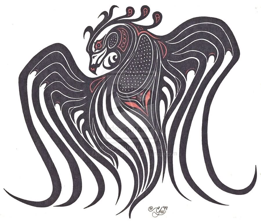 Native American Tribal Thunderbird Tattoo Sample