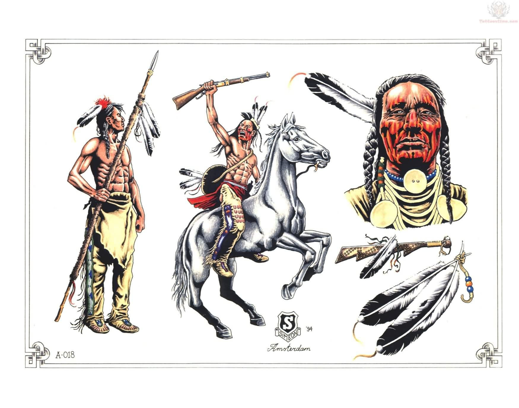 Native American Warrior And Feather Tattoo Designs