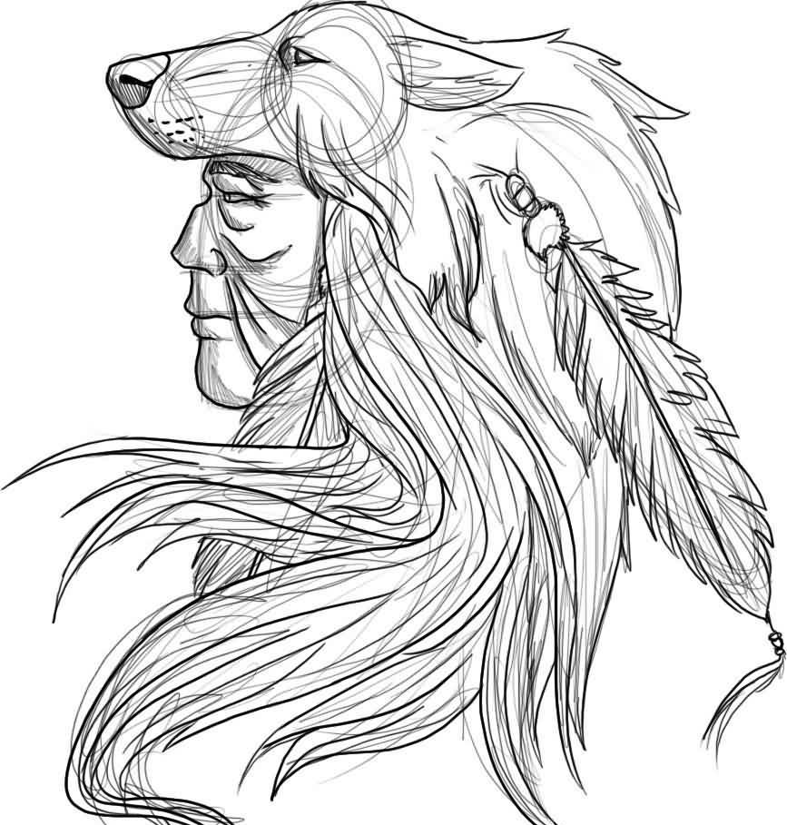 Native American Warrior Tattoo Sketch