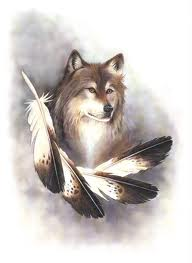 Native American Wolf And Feathers Tattoo Flash