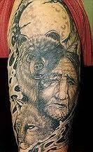 Native American Wolf And Woman Portrait Tattoos