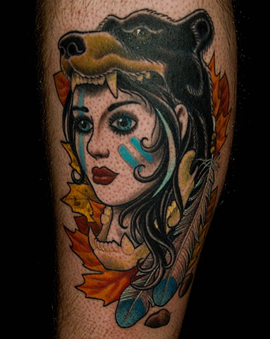Native American Wolf Girl And Feather Tattoos
