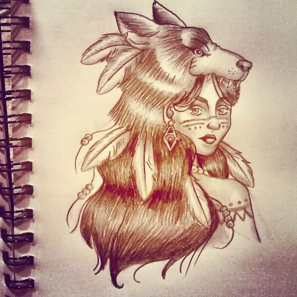 Native American Wolf Girl Tattoo Sketch